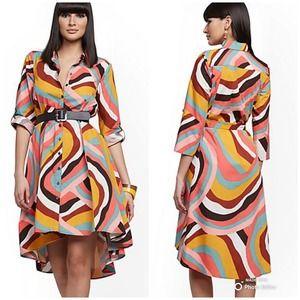 NY&C Multicolor Print Hi-Lo Shirtdress